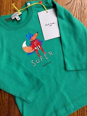 Paul Smith Baby Green Super Fox Long Sleeve Tshirt Age 6 Mths Bnwt