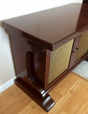 VINTAGE ENGLISH STYLE Buffet DOOR SIDEBOARD DINING SERVER BRASS GRILL Cabinet
