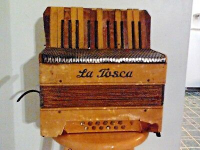 La Tosca NO B6039 Accordian with Leather Straps Vintage It's Ugly but it Plays!