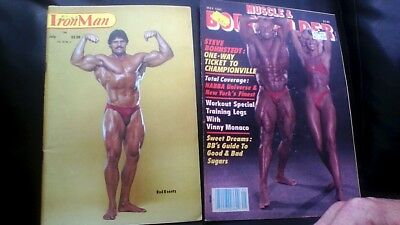 2x vintage bodybuilding magazines Iron Man July 83+ Muscle&Bodybuilder May 84