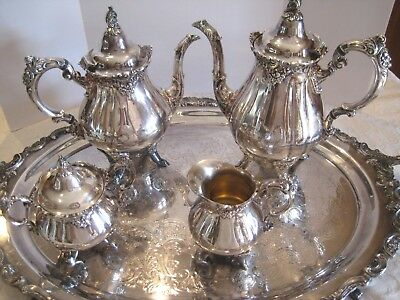 THANKSGIVING Wallace Baroque Silverplate Coffee Tea Sugar Creamer Oval Tray Set