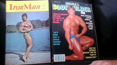 2x vintage bodybuilding magazines Iron Man July 78+ Muscle&Bodybuilder March 84