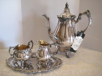 THANKSGIVING Wallace Baroque Silverplate Coffee Sugar Creamer Sm. Oval Tray Set
