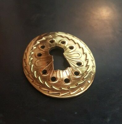 Vintage  brass Key Hole cover Plate Drawer- Skeleton Key