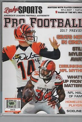 Isaiah Crowell and Andy Dalton NFL signed autographed magazine with COA