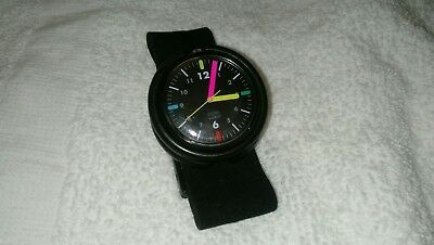 Pop Swatch Watch, 1989 Fall Winter Collection, Black face w/colored hands, Super
