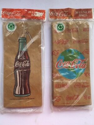 Lot of 2 Packages of 25 Coca Cola Brown Lunch Bags Brand New 1991-1992