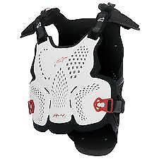 ALPINESTARS MX A-4 Chest Protector Roost Guard Body Armor Sz XS-SM Wht/Blk/Red