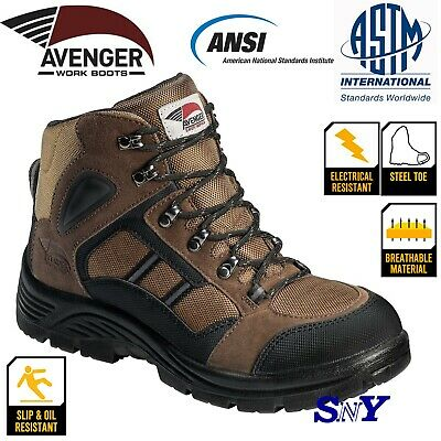 LEATHER Slip Resistant Work Boots Available Waterproof with Steel or Soft Toe cf