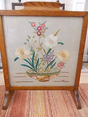 Vintage hand embroidered fire screen