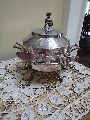 Antique Reed & Barton Silverplate Butter Dish Holder~Figural Whippet & Soliders