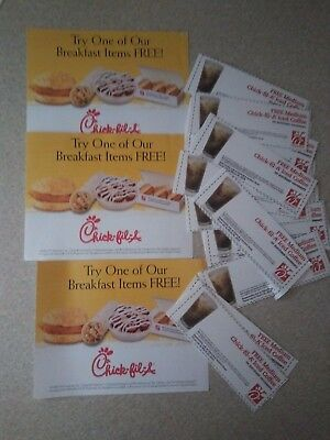 13 Paper Coupons for a Breakfast Item and Medium Iced Coffee CHICK FIL A Food