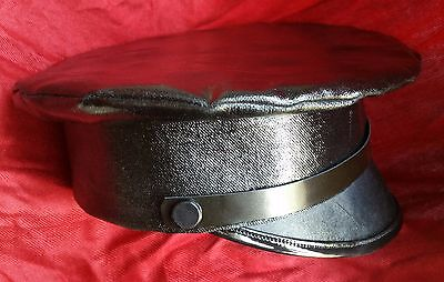 Civil War Japanned Cloth Wheel Hat Size 7 1/2 Large Hand Made in USA