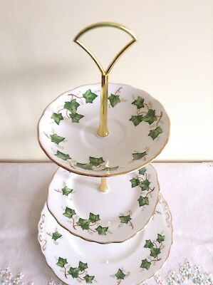 Colclough Ivy Leaf 3 Tier Cake Plate Stand