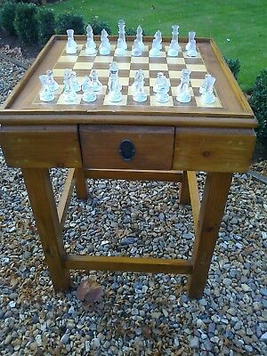 Hardwood Chess/Draughts Games Table with Chess Set