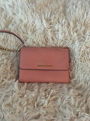Pink small Michael Koes clutch with gold detailing includes matching shldr strap