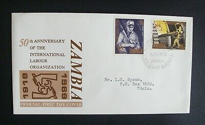 Zambia 1969 Official First Day Cover, 50th Anniv International Labour Org, B224