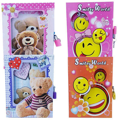 New Secret Diary Notebook With Lock And Key For Kids - Smiley Cute Bear