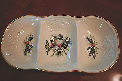LENOX Winter Greetings 3 Section Divided Server