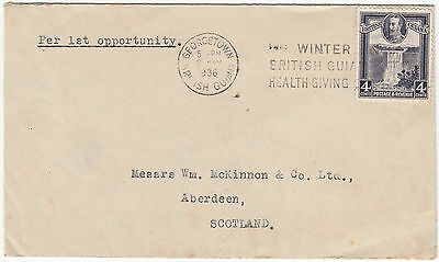 U1011 British Guiana commercial cover to UK. 1936 Solo 4c kaieteur falls stamp.