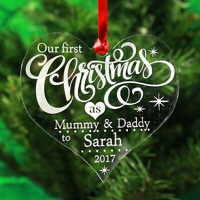 Personalised Christmas Decoration Tree Ornament First Xmas  Bauble Gift Engrave