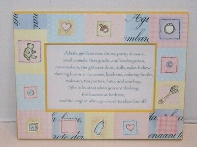 "NEW 7.25 x 5.5"" Baby Girl Picture Frame Bottles, Binkies, Rattles.... FREE Ship"