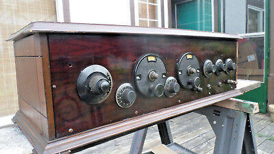 Antique Tube Radio  Wood Wooden circa 1920s Large HEAVY Lots of Dials unknown