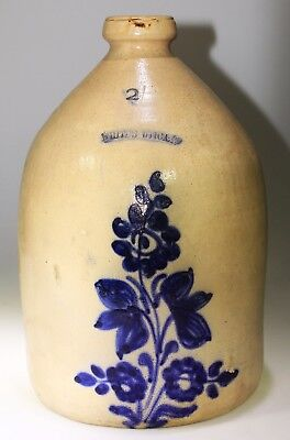 Very Nice White's 2 Gallons Jug With Nice Cobalt Flower, Utica, New York