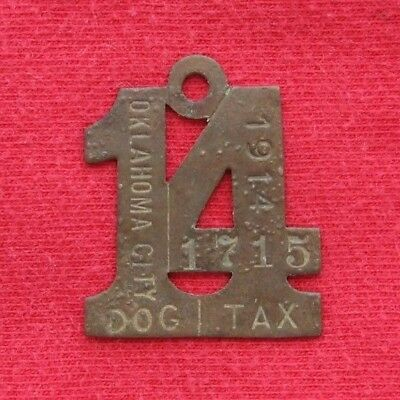 1914 Oklahoma City Antique Brass Numeral Dog Tax License Tag