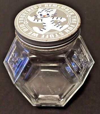 Mister Donut Osamu Harada RARE Glass Donut Hole Jar Metal Lid Hexagon Cat Flower