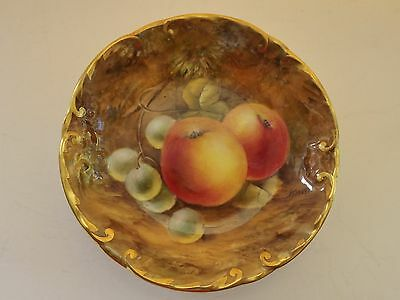 Royal Worcester fruit hand painted porcelain gilded dish, artist signed.