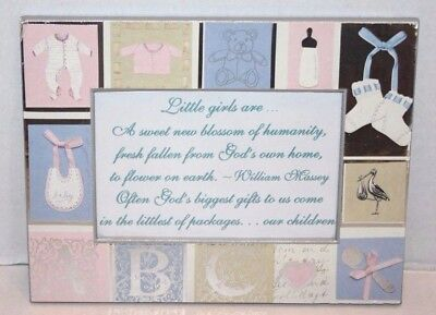 NEW 7.25 x 5.5 Baby Girl Picture Frame ABC, Booties, Bottles & Bibs Ships FREE
