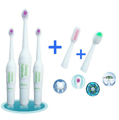 Kids&Adult Electric Toothbrush Replacement 3 Brush Heads AA Battery Operated C+