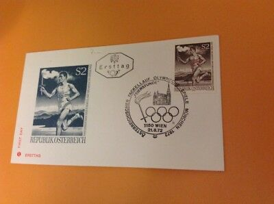 1972 First Day Cover, Munich Germany Olympics, Austrian Stamps - Vgc