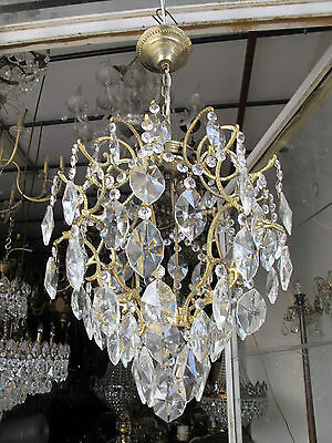 Antique Vnt French Cage Style Czech Crystal Chandelier Lamp Light 1940s 37cm dmt