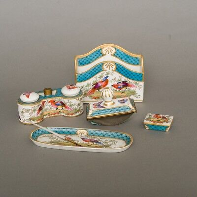 Antique 6-Piece Porcelain Desk Set Aladin France Birds & Butterflies Blue Gold