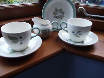 Wedgewood Woodbury, 2 tea cups and saucers, plate, small jug, lid dated 1956