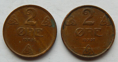 """1936 & 1937 Norway 2 Ore Coin KM#371 """"Lot of 2 coins"""" SB4958"""