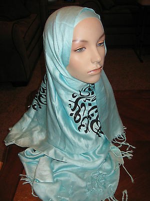 NWOT mint green rectangle scarf black Arabic calligraphy HIJAB cotton pashmina