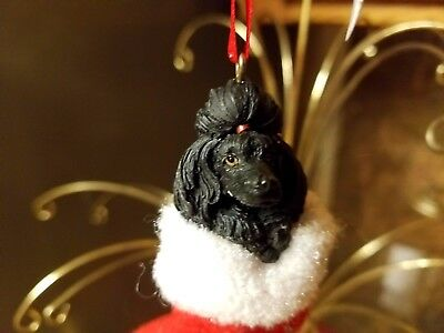 Poodle Black Santa's Little Pals Dog Christmas Ornament