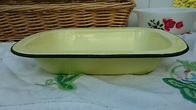Vintage Enamel Pie Dish  Yellow - Shabby Kitchenalia