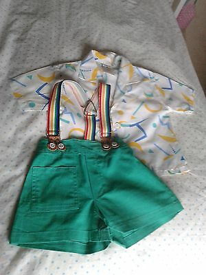 True Vintage  2 Piece Boys Baby Shirt & Shorts with Braces