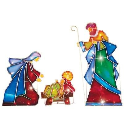 Lighted outdoor mosaic nativity scene 3 pc arch star bethlehem glass lighted outdoor mosaic nativity scene 3 pc arch star bethlehem glass cross stake workwithnaturefo