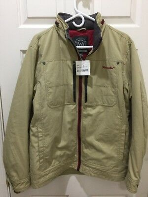 New Moosejaw Men's Jacket with Hood Waxed Canvas Khaki Beige Wheat Medium NWT