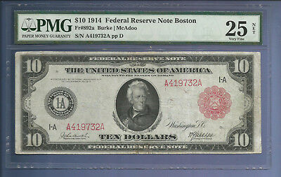 CC&C $10 1914 - Federal Reserve Note  BOSTON - 892a Red Seal - SHIPS FREE!