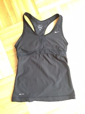 womens nike dri fit racerback s built in bra tank top black  small
