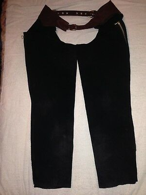 Heavy Brown Suade Motorcycle Riding Chaps