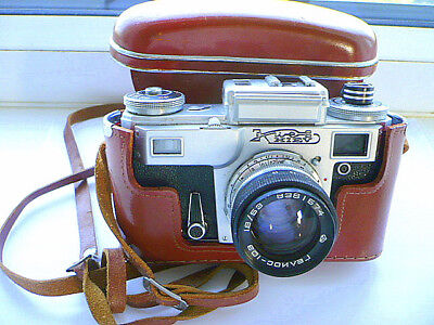 Rangefinder Camera KIEV-4M with Standard Lens Helios 103 & Case. Made in USSR