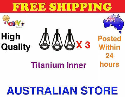 3x Black General Purpose Fishing Rod Tip with Titanium Ring High Quality
