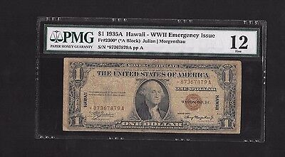 1935-A $1 Dollar Silver Certificate Hawaii Star Note, Fr#2300*, Pmg Fine 12